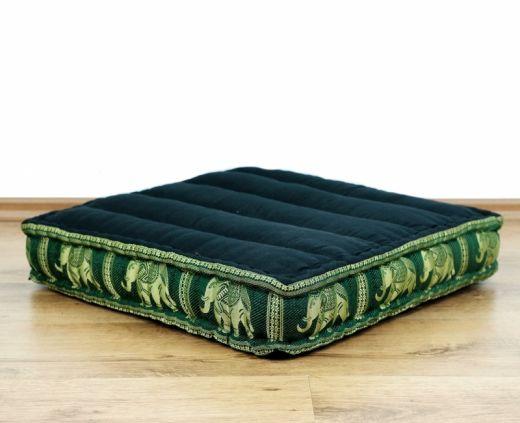 Sitzkissen, Bodensitzkissen mit Seidenstickerei *schwarz/grün - Elefanten*