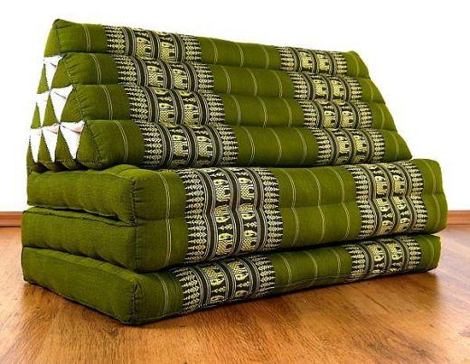 Jumbo Thaikissen, extra breit  *grün / Elefanten*