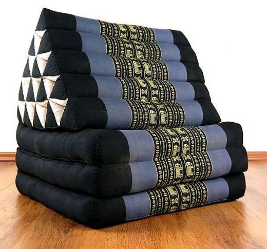Thaikissen, XXL Dreieck  *blau / Elefanten*