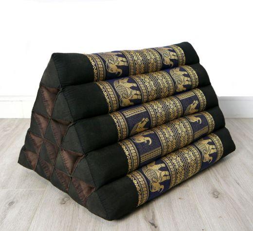 Kapok Dreieckskissen, Rückenlehne, hoch  *schwarz-blau/Elefanten*  deluxe
