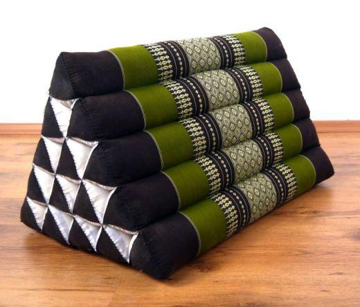 Kapok Dreieckskissen, Rückenlehne  *braun/smaragtgrün*  extrahoch