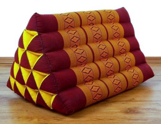Kapok Dreieckskissen, Rückenlehne  *rot - gelb*  extrahoch