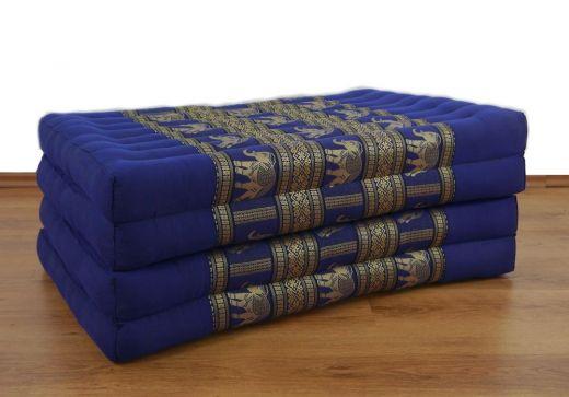 Kapok Klappmatratze, Gästematratze *blau-Elefanten* Seidenstickerei