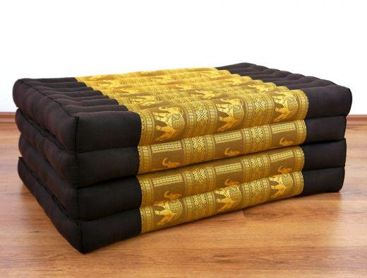 Klappmatratze, Seide, braun-gold/Elefanten
