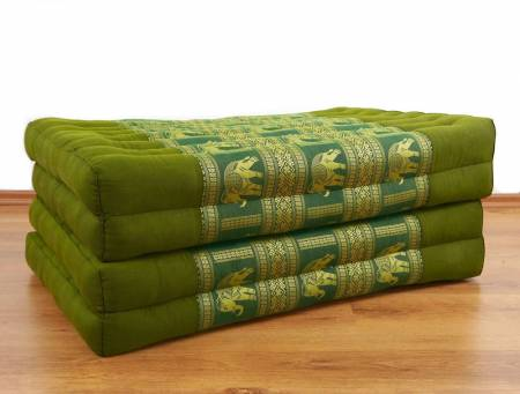 Kapok Klappmatratze, Gästematratze *grün-Elefanten*  Seidenstickerei