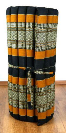 Kapok Rollmatte, Liegematte  *schwarz - orange*  Gr. M