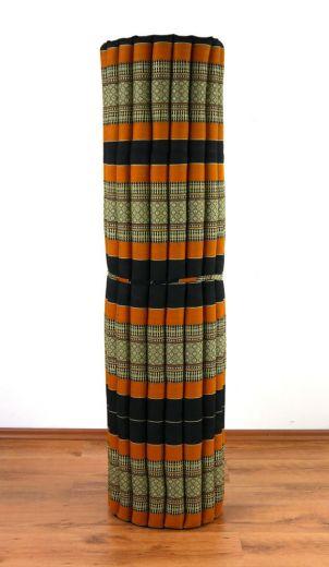Kapok Rollmatte, Liegematte *schwarz - orange* Gr. XL