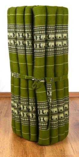 Kapok Rollmatte, Liegematte  *smaragtgrün - Elefanten*  Gr. M