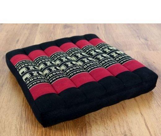 Sitzkissen, Stuhlkissen *schwarz-rot / Elefanten*