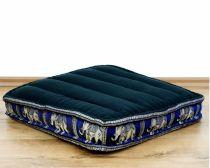 Sitzkissen, Bodensitzkissen mit Seidenstickerei *schwarz/blau - Elefanten*