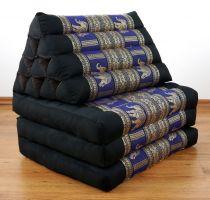 Thaikissen, DELUXE  *schwarz-blau/Elefanten*