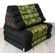 Thaikissen, DELUXE  *schwarz-grün/Elefanten*