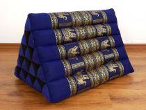 Kapok Dreieckskissen, Rückenlehne, hoch  *blau/Elefanten*  deluxe