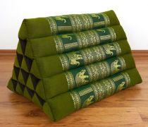 Kapok Dreieckskissen, Rückenlehne, hoch  *grün/Elefanten*  deluxe