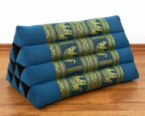 Kapok Dreieckskissen, Rückenlehne  *hellblau/Elefanten*  deluxe