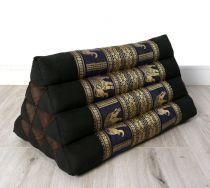 Kapok Dreieckskissen, Rückenlehne  *schwarz-blau/Elefanten*  deluxe