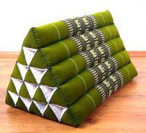 Kapok Dreieckskissen, Rückenlehne  *smaragtgrün/Elefanten*  extrahoch