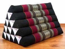 Kapok Dreieckskissen, Rückenlehne  *schwarz/rot*  extrahoch