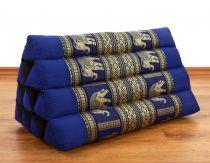 Kapok Dreieckskissen, Rückenlehne  *blau/Elefanten*  deluxe