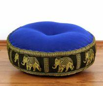 Zafukissen, Meditationskissen *blau/schwarz - Elefanten*