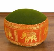 Zafukissen, Meditationskissen *grün/orange - Elefanten* klein, mit Tragegriff