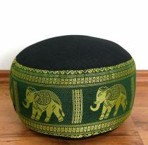 Zafukissen, Meditationskissen *schwarz/grün - Elefanten* klein, mit Tragegriff