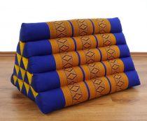 Kapok Dreieckskissen, Rückenlehne  *blau/gelb*  extrahoch