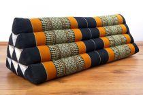 Kapok Dreieckskissen, Rückenlehne  *schwarz/orange*   extrabreit