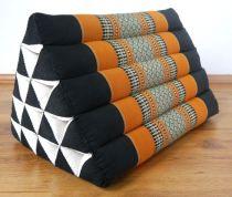 Kapok Dreieckskissen, Rückenlehne  *schwarz/orange*  extrahoch
