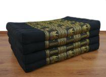 Kapok Klappmatratze, Gästematratze *schwarz-Elefanten* Seidenstickerei