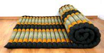 Kapok Rollmatte, Liegematte  *schwarz - orange*  Gr. L