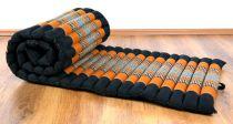 Kapok Rollmatte, Liegematte  *schwarz - orange*  Gr. S