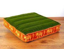 Sitzkissen, Bodensitzkissen mit Seidenstickerei  *grün/orange - Elefanten*