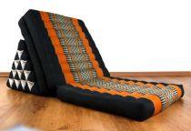 Thaikissen, XXL Dreieck  *schwarz / orange*