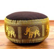 Zafukissen, Meditationskissen  *dunkelbraun/gold - Elefanten*  klein, mit Tragegriff