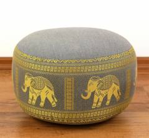 Zafukissen, Meditationskissen  *hellgrau - Elefanten*  klein, mit Tragegriff