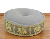 Zafukissen, Meditationskissen  *hellgrau - Elefanten*