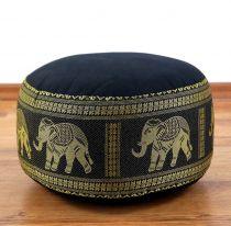 Zafukissen, Meditationskissen  *schwarz - Elefanten*  klein, mit Tragegriff