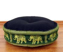 Zafukissen, Meditationskissen  *schwarz/grün - Elefanten*