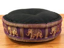 Zafukissen, Meditationskissen  *schwarz/lila - Elefanten*