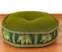 Zafukissen, Meditationskissen  *smaragtgrün - Elefanten*