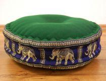 Zafukissen, Meditationskissen  *wiesengrün/blau - Elefanten*